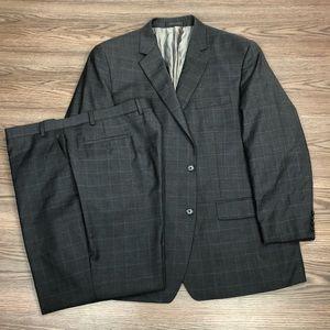Michael Kors Grey w/ Blue Windowpane Suit 48R